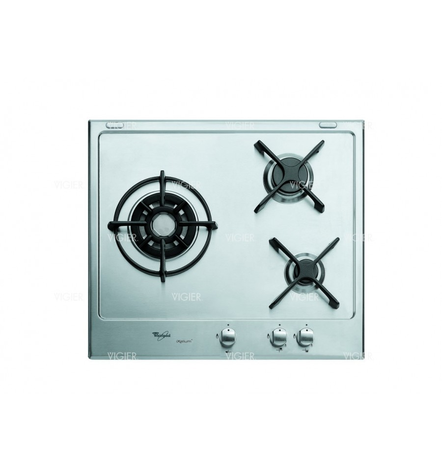 plaque 3 gaz inox allumage integre 3700w whirlpool vigier electrom nager. Black Bedroom Furniture Sets. Home Design Ideas